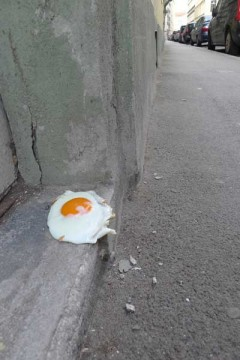 fried egg on the street